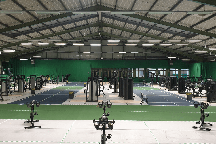 Wirral Tennis Centre (Bidston) filled with gym equipment all spaced out