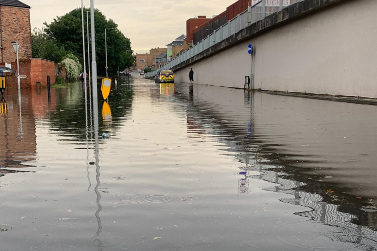picture showing flooded Borough Road in Birkenhead