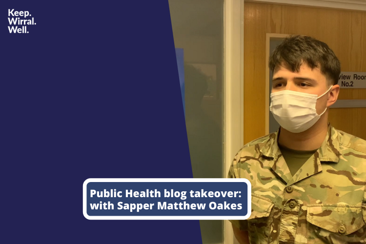 Image of Sapper Matthew Oakes with the words 'Public Health blog takeover'