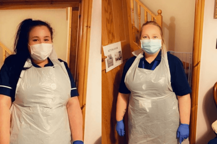 Pictured Clare and Gilian wearing PPE, carers from Wirral