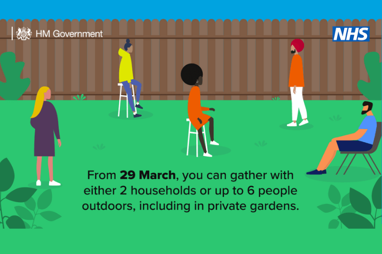"""Cartoon image depicting five people sitting apart in a garden, with the words """"From 29 march you can gather two households or up to 6 people outdoors, including in private gardens"""""""