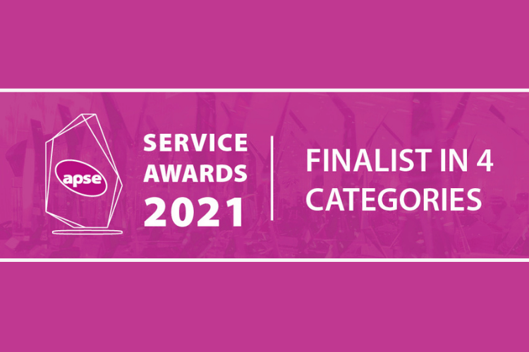 White text on pink background graphic image, which reads APSE service awards 2021 finalist in 4 categories.