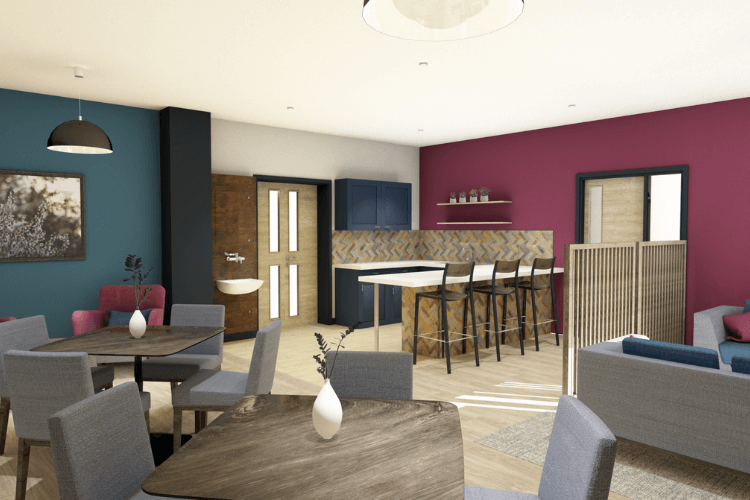 Internal image of the cafe, the walls are blue, pink and white and seating is modern and sleek.