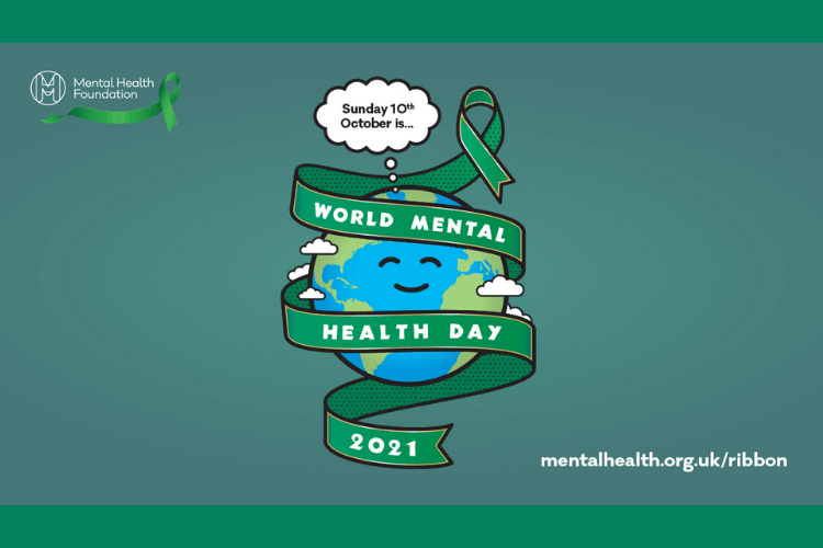 A cartoon of the earth on a green background, the earth is wrapped in a green ribbon that reads ' World Mental Health Day 2021'
