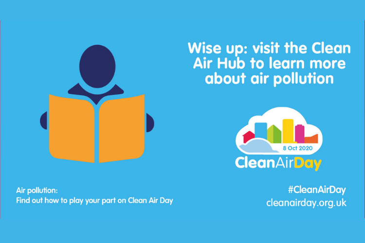 Graphic for clean air day with the words 'Wise up: visit the Clean Air Hub to learn more about pollution'