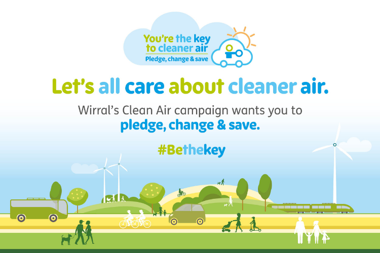 Graphic of cartoon landscape with the wording 'Let's all care about cleaner air. Wirral's Clean Air campaign wants you to pledge, change & save.'