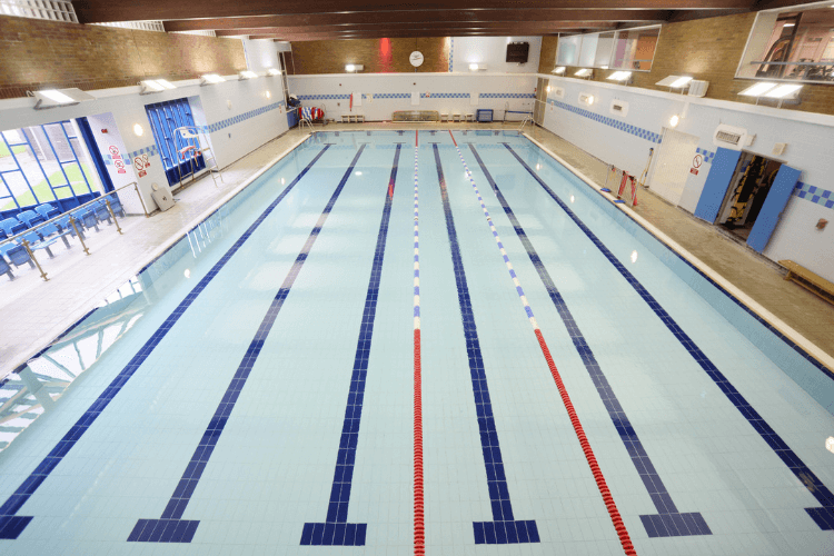 Picture of the training pool at The Oval Leisure centre with the lanes marked out.