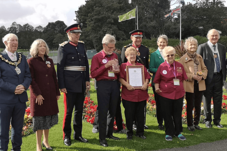 Friends of Birkenhead Park with Her Majesty's Lord-Lieutenant Mr Mark Blundell and High Sheriff of Merseyside, Mr Nigel Lanceley, the Mayor of Wirral, Councillor George Davies and the Merseyside Lieutenancy Assessment Team of His Honour John Roberts, Dr Ruth Hussey, and Professor Sir Ian Gilmore.