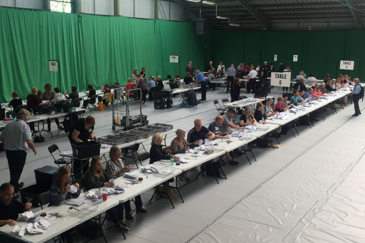 Vote counting at the Wirral Tennis and Leisure Centre