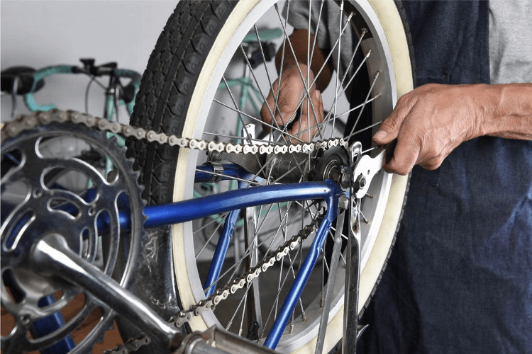 Bike being repaired