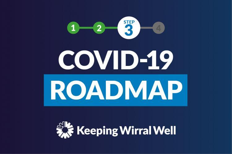 Blue COVID-19 roadmap graphic Step 3