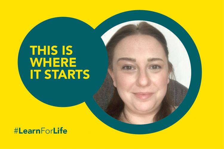 Green and yellow graphic image with a picture of a woman's face, the image reads 'this is where is starts'
