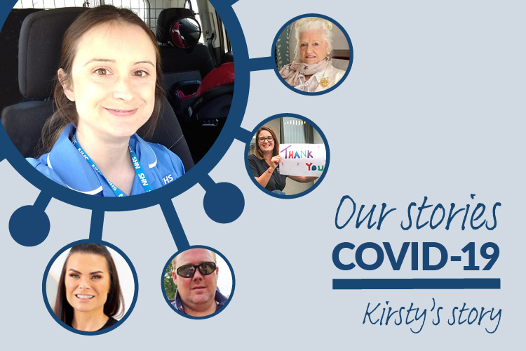 Image of Wirral nurse Kirsty and the text 'our stories, COVID-19 stories, Kirsty's story'
