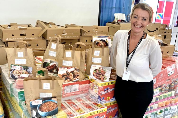 Head of St Peter's School, Noctorum with free food packs