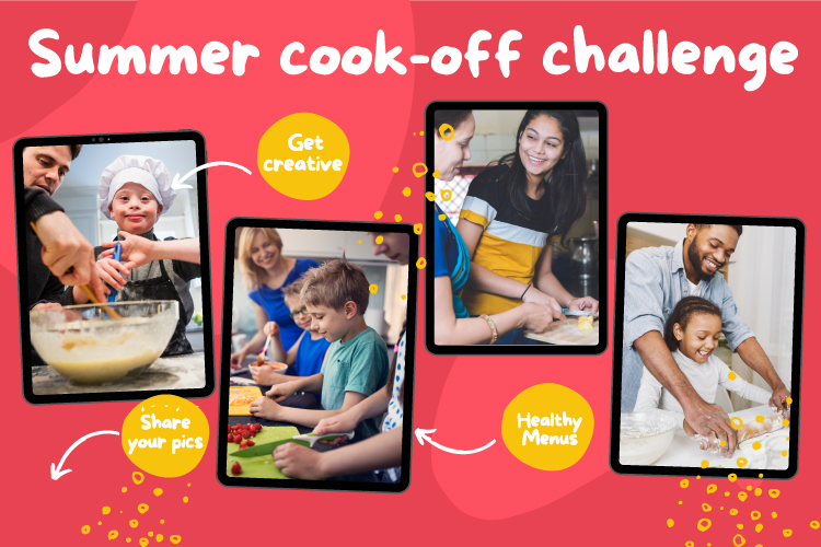 """Red and yellow graphic background with four pictures of various families cooking together. Text reads """"Summer cook-off challenge. Get creative. Share your pics. Healthy Menus."""""""