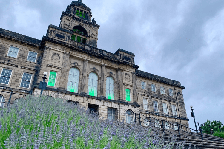 Wallasey Town Hall lit green