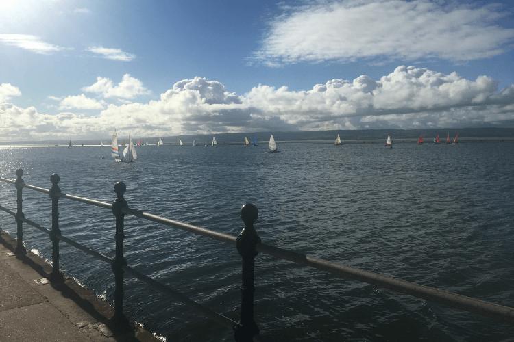 Sailing boats on West Kirby Marine Lake