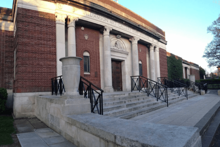 The front of Williamson Art Gallery - a view of the steps leading up the entrance. The picture has been taken from the left and side.
