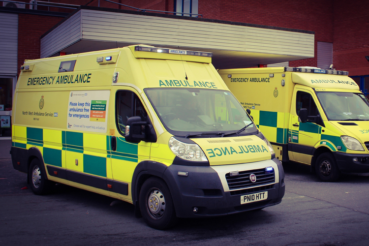 Ambulances outside Arrowe Park A&E department