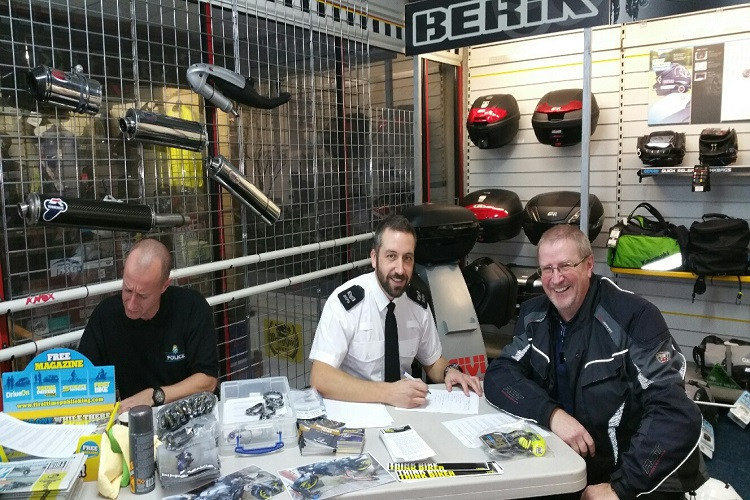 Merseyside Police crime prevention session with motorcycle owners