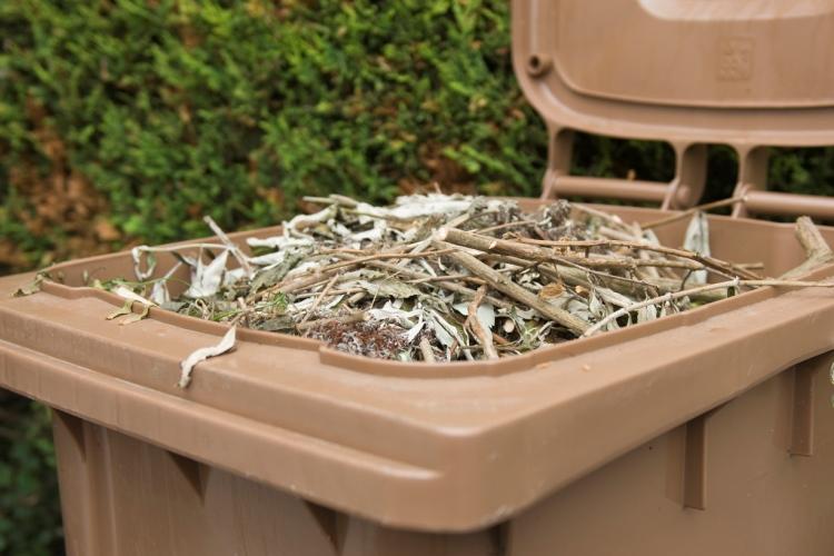 Brown garden bin with garden waste inside it