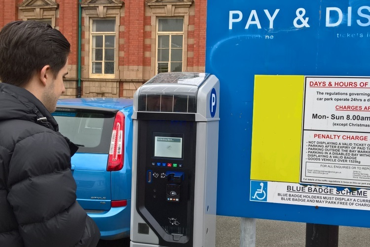 image of a pay and display car parking meter