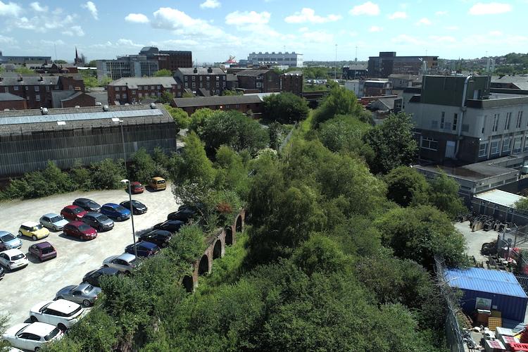 Help design a new park for Birkenhead - overhead photo of Dock Branch Park location