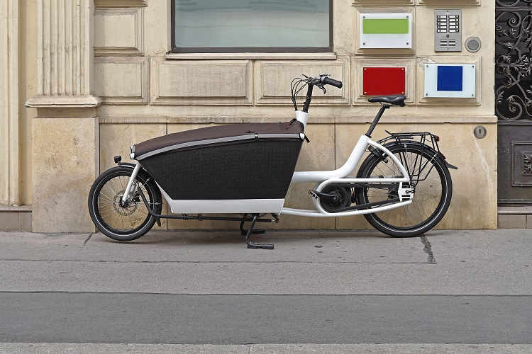 Side profile of an eCargo bike (an electric powered bike with a large storage area at the front)